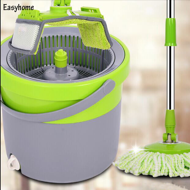 Free Shipping One Bucket magic mop & 6 pcs free mop head,newest multifunction mop-two usage,save room space,360 degree spin mop(China (Mainland))