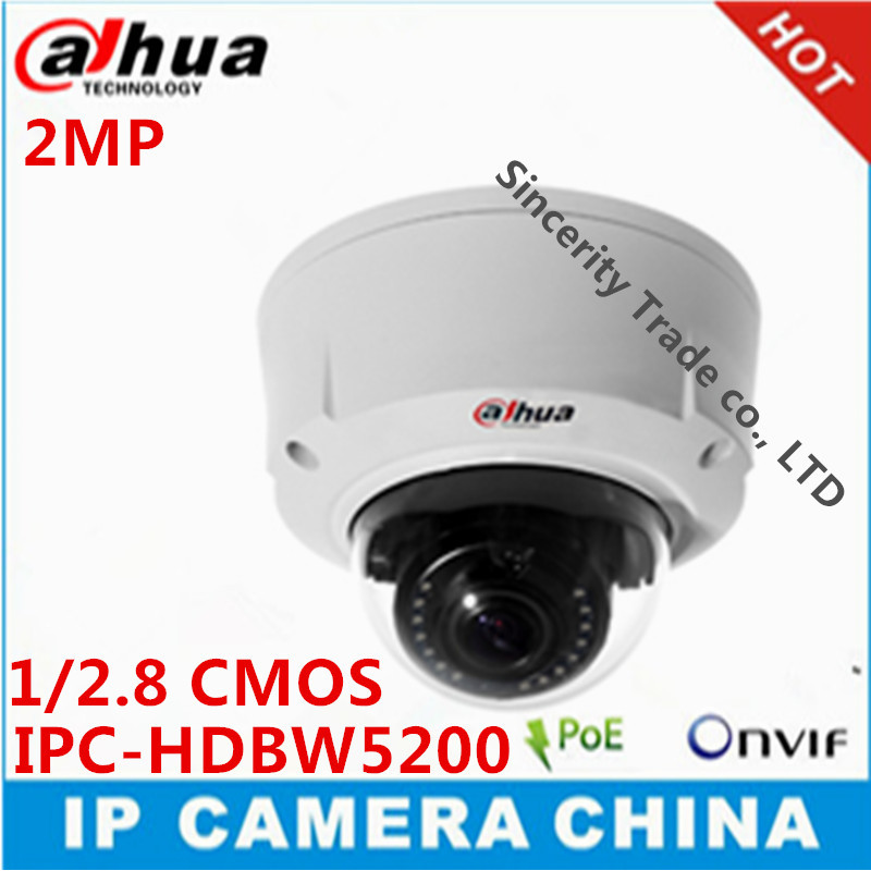 DAHUA 2MP Full HD IP IR Dome Camera 1080P Vandalproof IR Dome Camera with POE IPC-HDBW5200(China (Mainland))
