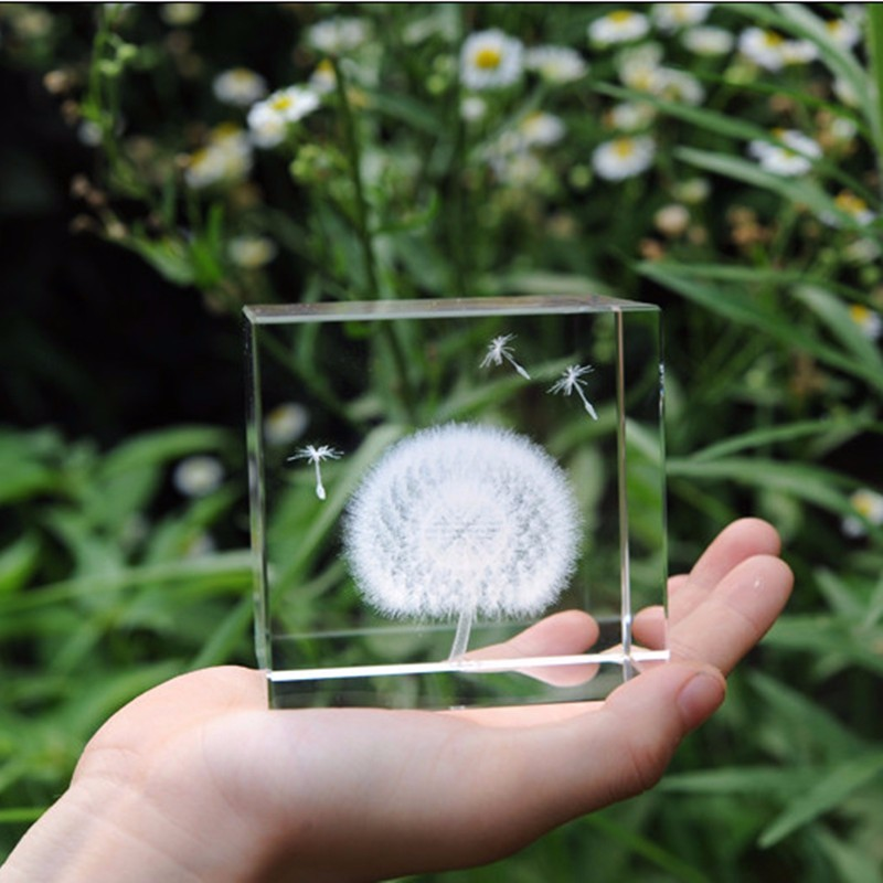 60mm Clear K9 3D Laser Engraved Crystal Dandelion Cube Paperweight Natural Stones and Minerals Cubes Figurines For Home Decor