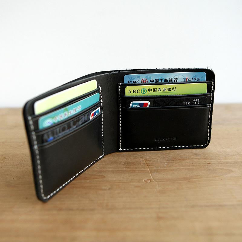 LAN free shipping Men's leather small handmade leather wallet horizontal thick leather wallet men's handmade wallet(China (Mainland))