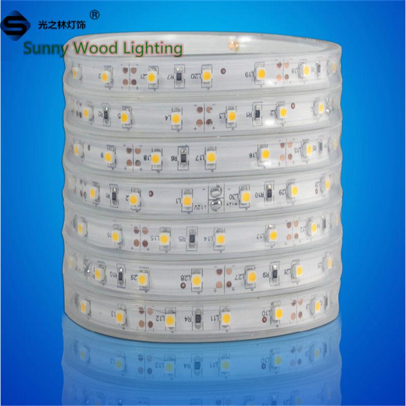 Led strips 5m/roll Free shipping LED Sleeve strip SMD 3528 60pcs/m LED softstrip 12V DC White color IP67 Epistar LED(China (Mainland))