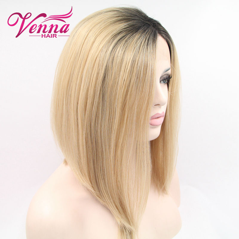 Hot Selling Ombre Synthetic Lace Front Wig Blonde Bob Hairstyle Side Part Short Glueless Wigs
