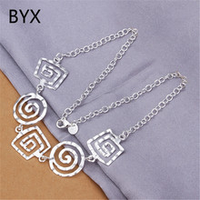 Special design silver plated square&round thread pendant necklaces for women new arrival fashion jewelry femme gifts YXNE0785