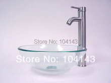 Lavatory Chrome Faucet Bowl Sinks Construction&Real Estate Kitchen&Bath Fixtures Sinks&Mounting Ring Transparent Glass Basin Set