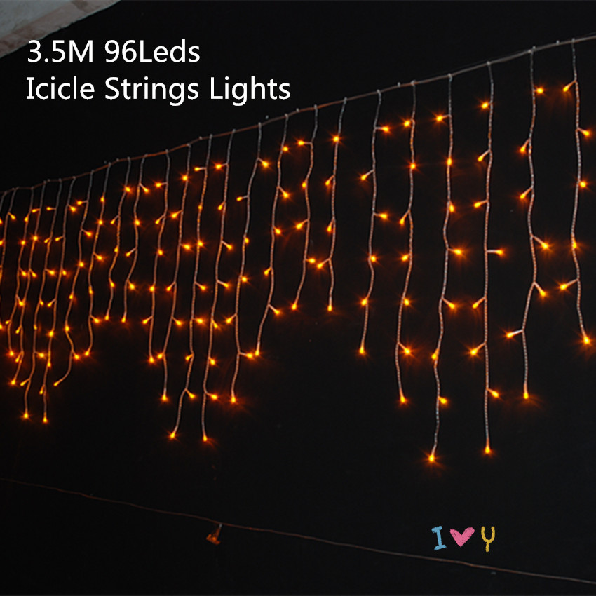 Christmas 3.5m Droop 0.3-0.5m Curtain Icicle Strings Led Lights IP20 Indoor Lightings 220V New year Garden Xmas Wedding Light(China (Mainland))