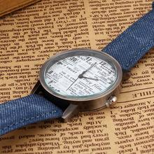 New Arrival Vintage Style Women Men Casual Watch Newspaper Pattern Casual Watch For Women Men Relojes