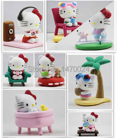 Cute Bonnie Clay Hello Kitty Modeling Clay Eco-Friendly Plasticine Playdough Super Clay Kitty DIY Building Toy Children Toy 9996(China (Mainland))