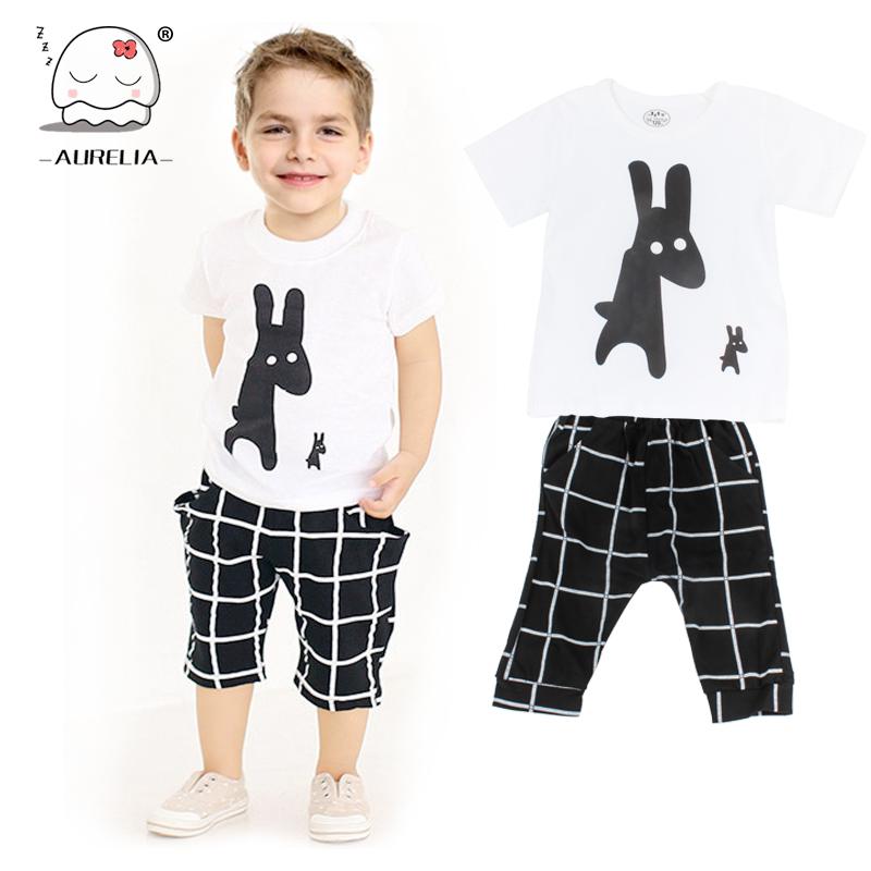 2PCS Newborn Cotton Cartoon Baby Boy Girl Clothes Set Infant Cute Dog Short Sleeve Kid Outfits Plaid Toddler T Shirt+Pants(China (Mainland))