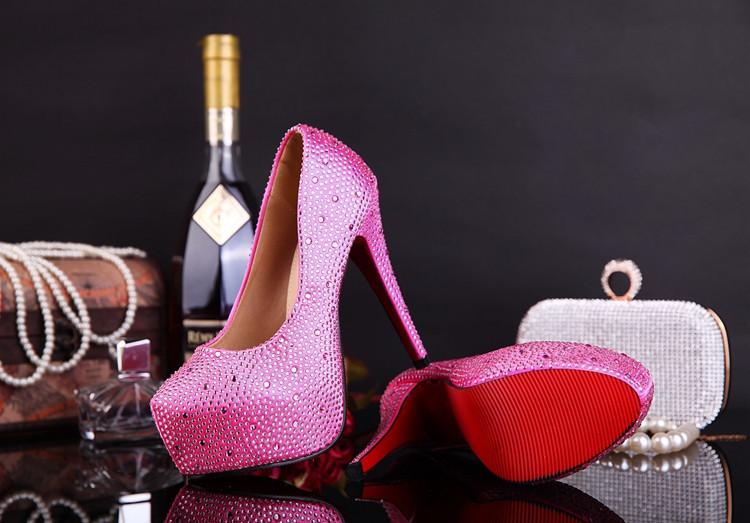 new fashion wedding shoes ultra high heels platform rhinestone crystal the bride shoes wedding shoes size