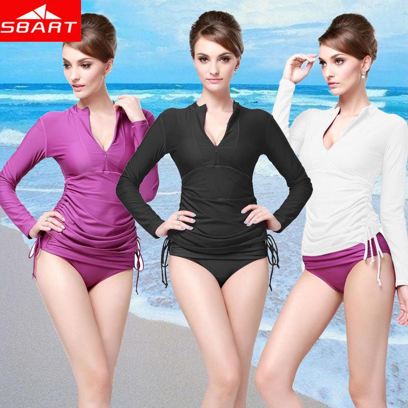 SBART Rash Guard Women Long Sleeve Rashguard Swim Shirts Womens Rash Guard Swimwear Surf Clothing Upf50 Ladies Lycra Diving Suit(China (Mainland))
