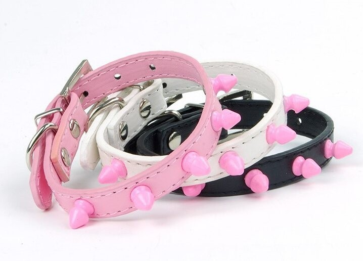 Funny Pink Plastic Rivet Leather Pet Dog Collars Cat,Fashion Puppy Dog Leather Collars Doggy Adjustable Pet Collar Supplies(China (Mainland))