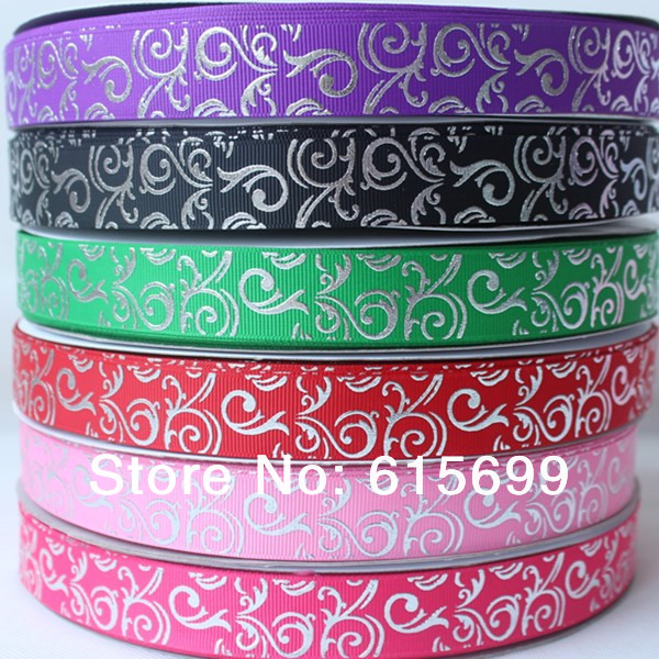 6 Colors!! Silver European Style Swirls Polyester Ribbon, Factory Wholesale Custom Grosgrain Ribbon, High quality 100Y/R(China (Mainland))