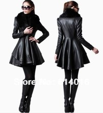 New Arrival sale 2015 winter Leather clothing fashion black leather jacket ruffles fur leather jackets for womens S-4XL 5XL(China (Mainland))