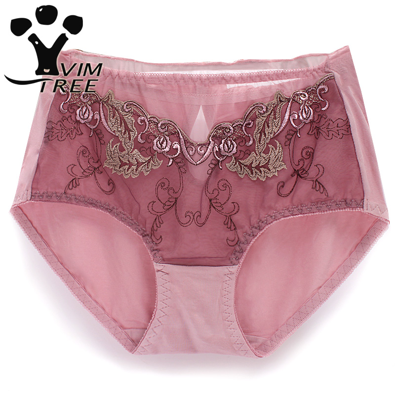 VIMTREE high waist size sexy lace panty embroidery lady briefs bottom crotch cotton womens underwear