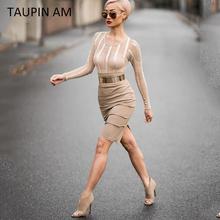 TAUPIN AM Metal belt women khaki party bodycon dress Fashion midi Celebrity Bandage Dress Clubwear hollow out mesh dresses(China (Mainland))