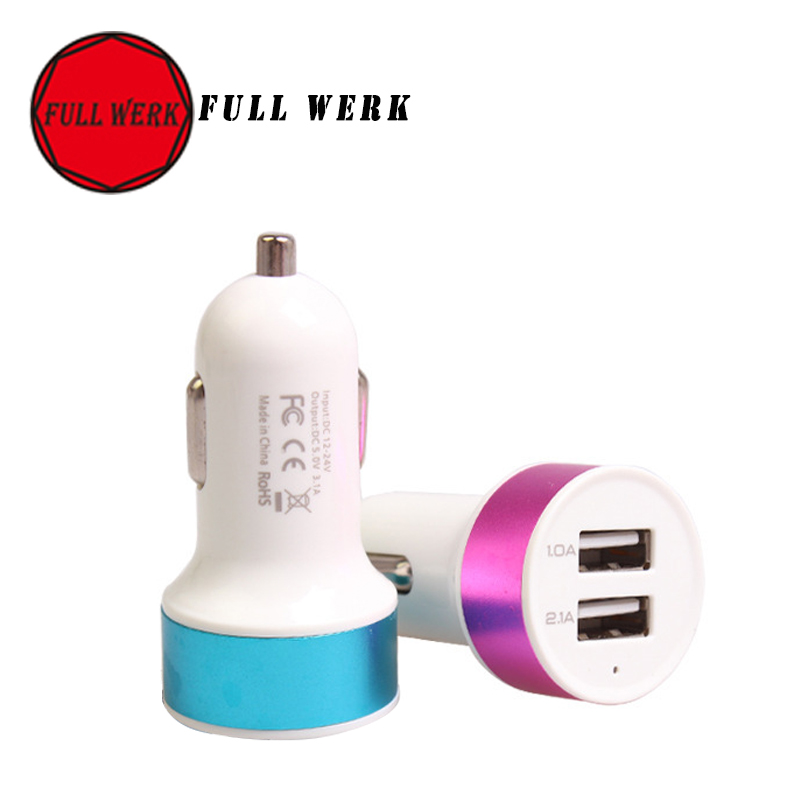 Micro Auto Universal Dual 2 Port USB Car Charger 5V 2.1A Adapter random color shipping For cellphone, Iphone(China (Mainland))
