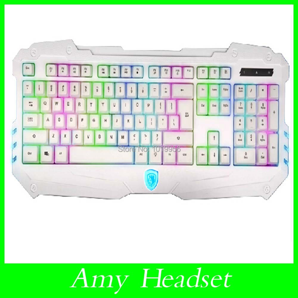Sades Colorful Rainbow luminous backlit wired usb wired ergonomic multimedia professional computer no rush gaming keyboard(China (Mainland))