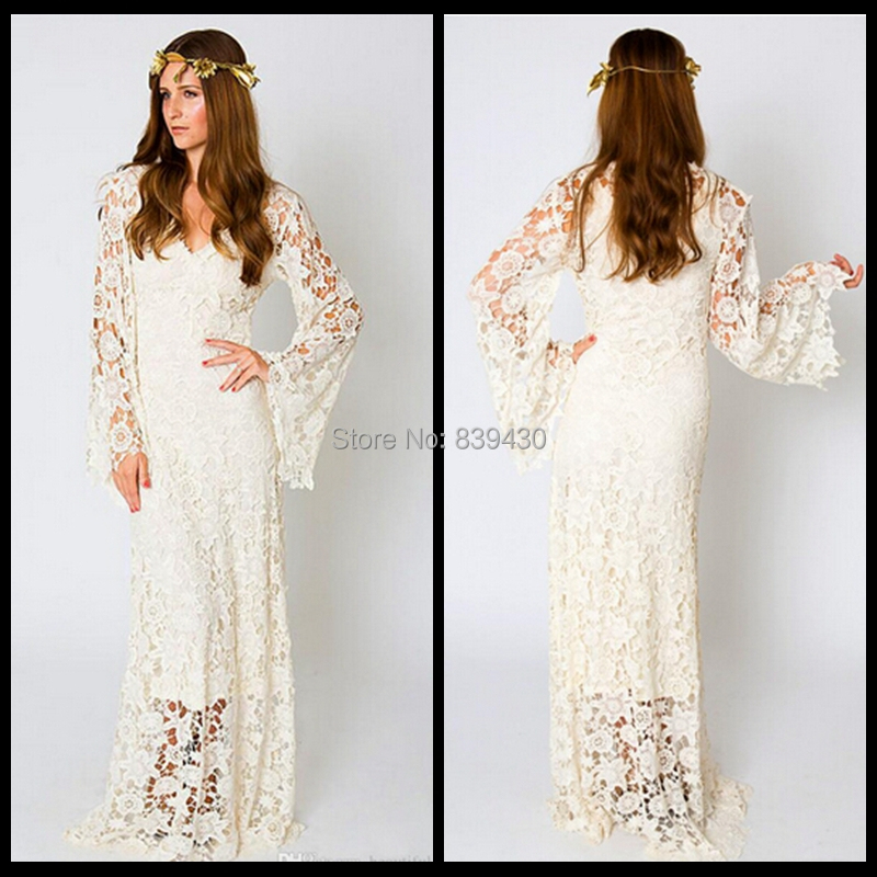 Wedding dress bohemian style for Bohemian white wedding dress
