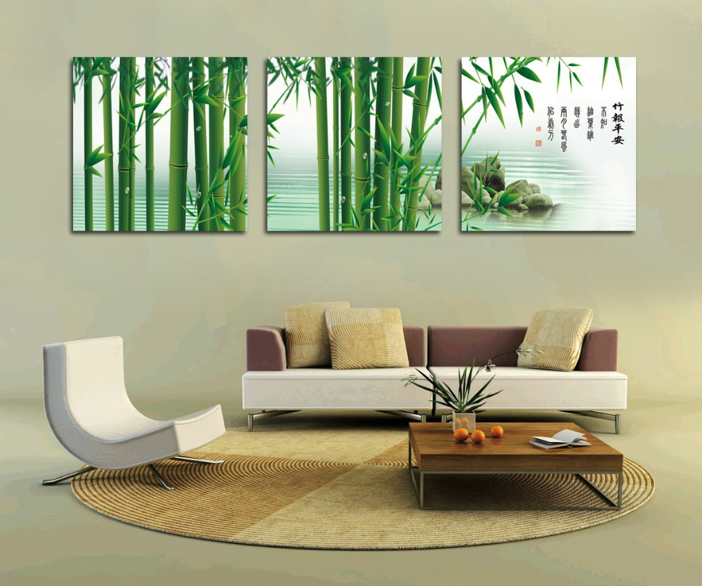 Buy green bamboo painting fashion home for 3 piece wall art
