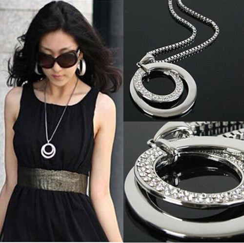 Long Chain Women Fashion Crystal Rhinestone Chunky Silver Plated Double Circle Pendant Necklace(China (Mainland))