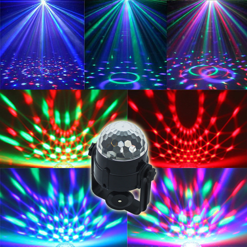 Free shipping Best Promotion Mini RGB LED Crystal Magic Ball Stage Effect Lighting Lamp Party Disco Club DJ Light Show US Plug(China (Mainland))