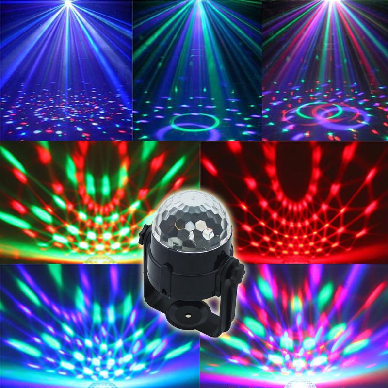 Free shipping Best Promotion Mini RGB LED Crystal Magic Ball Stage Effect Lighting Lamp Party Disco Club DJ Light Show US Plug(China (Mainland))