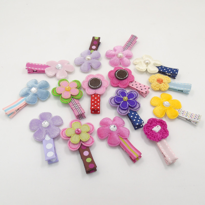 15pcs/lot Felt Flower Hair Clips with Crystal Dots Stripped Plaid No Slip Baby Hairpin Woolen Knitted Floral Fairy Girl Barrette(China (Mainland))