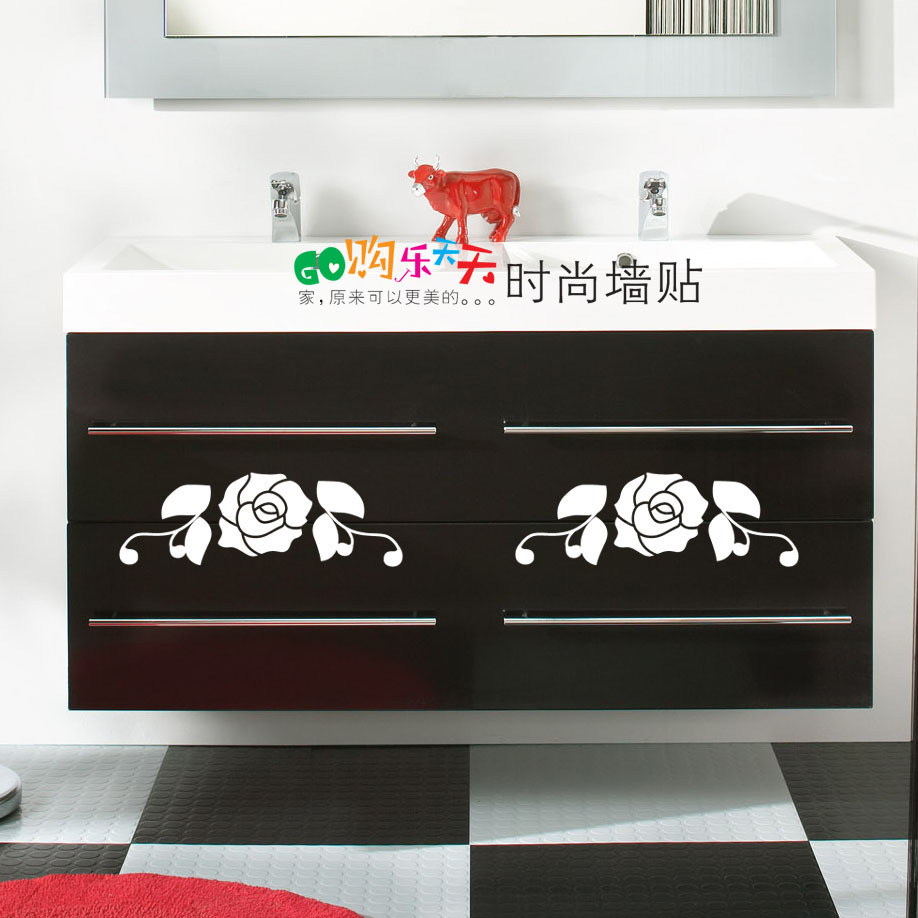 Decals For Kitchen Cabinet Doors: Small-fresh-go-LOTTE-fashion-wall-stickers-rose-kitchen