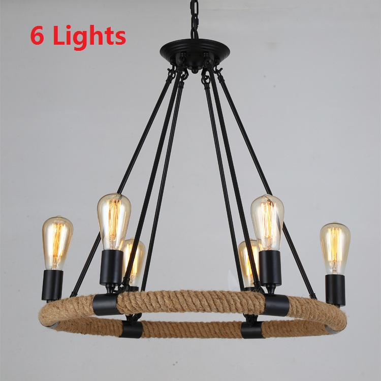 Nordic antique hemp rope retro pendant lights vintage for Country lighting fixtures for home
