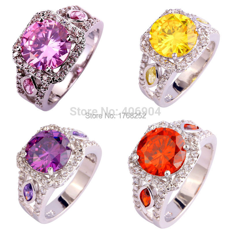Hot Sales Round Cut Pink Topaz Citrine Amethyst Garnet 925 Silver Ring Size 7 8 9 10 Love Style JEWELRY(China (Mainland))