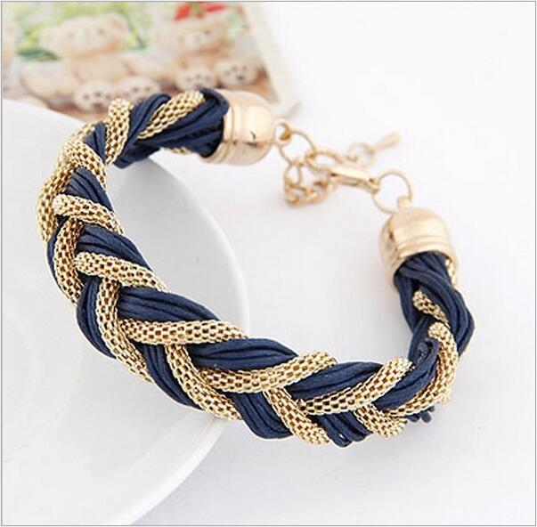 Metal Leather Rope Punk Braided Wrap Bracelets Wholesale For Women Female Gift Jewelry Wrist Band Charm Chain Bracelet Weaving(China (Mainland))