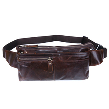 Genuine Leather Waist Bags Men Top Grade Cowhide Retro Leisure Sport Running Crossbody Bag High Quality Brand Male Bolsas 071