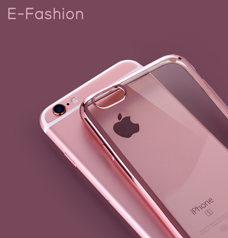 New Luxury Silicone Cell Phone Case 6S Ultra Thin Clear Crystal Rubber Plating TPU Soft Cover For iPhone6 Plus Bumper Gloden(China (Mainland))