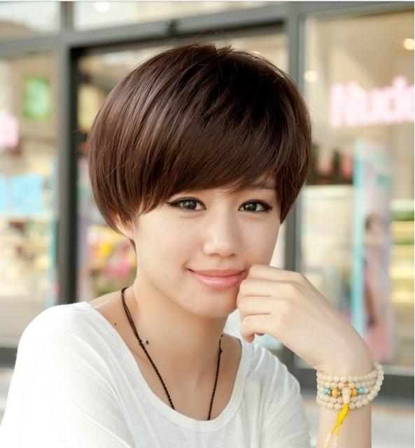 Vintage women's trend short straight short hair girls wig bobo oblique bangs black brown female