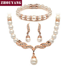 Imitation Pearl 18K Gold Plated Elegant Wedding Jewelry Set