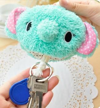 Cute Cartoon Animal Plush Pumping Rope Key Wallet Key Pouch Key Chain Holder Retail KCS