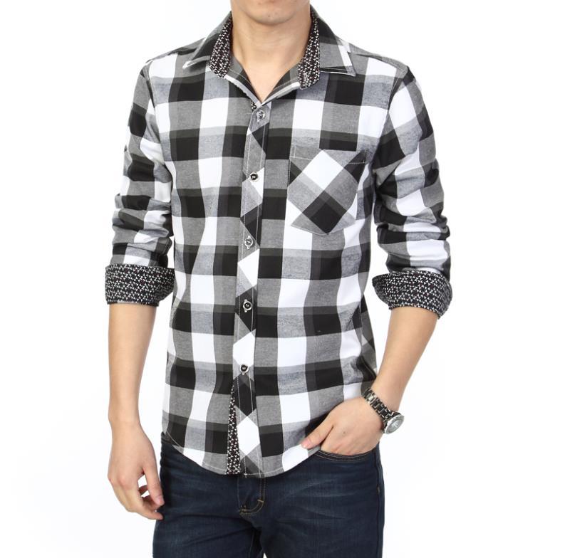 2015 New Men long sleeve shirt Camisa slim fit Camisa xadrez masculina Male plaid Shirt man Mens dress shirts Men big size 6xl