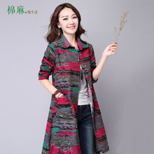 New 2015 women spring autumn medium-long shirts print long-sleeve Linen shirt female casual coat Plus size clothes