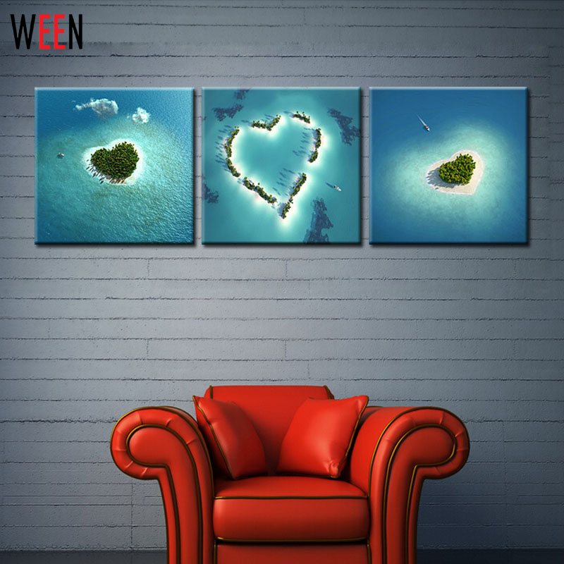 3 Piece Home Decoration Heart Island Natural Scenery Modern Wall Painting Art Picture Paint On Canvas Oil Painting Cuadro Print(China (Mainland))