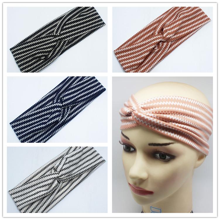 ladies fashion stretch sport lycra tooth pattern twist headband head wrap(China (Mainland))