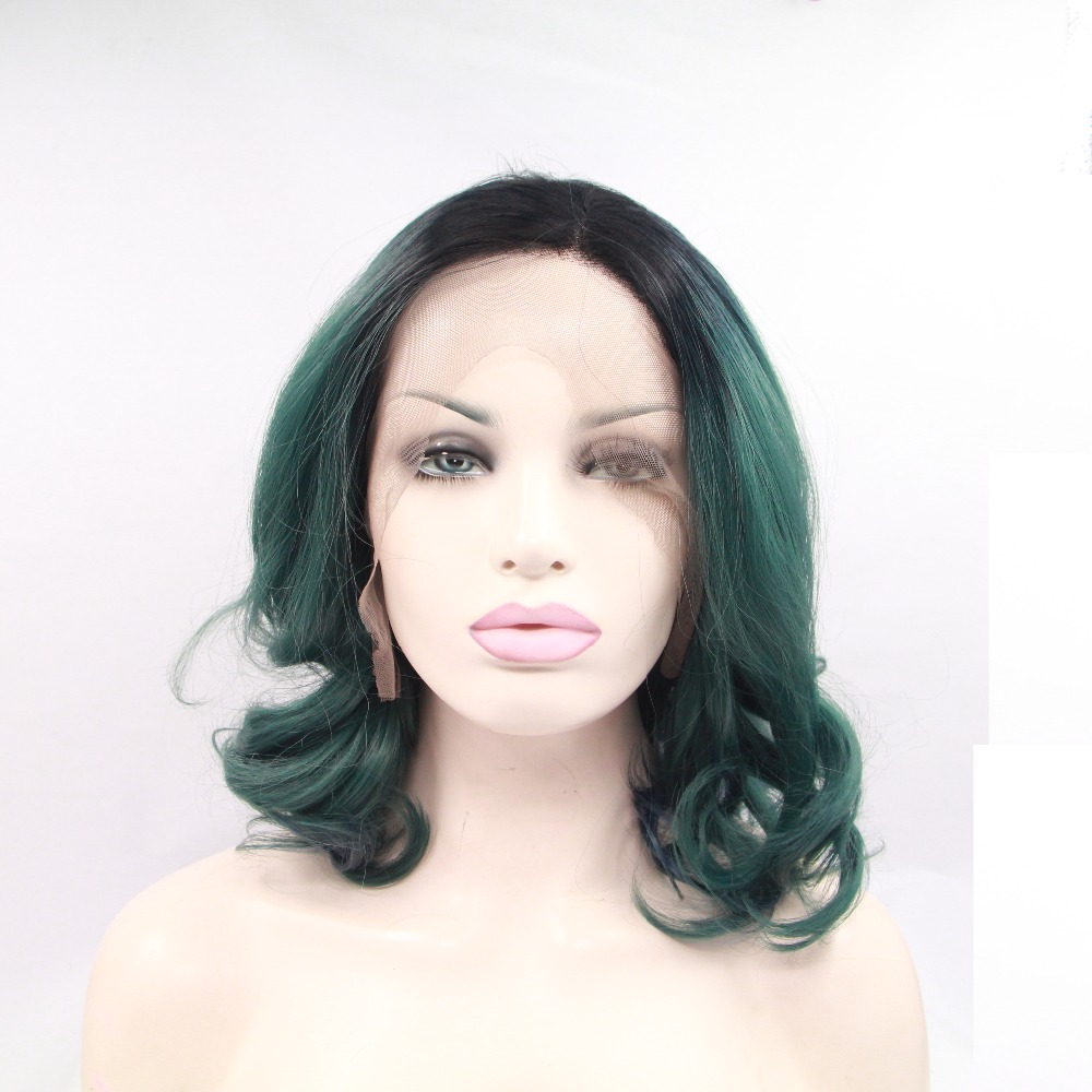 Free shipping new arrival green ombre black roots color sexy short body wave synthetic lace front wig heat resistant fiber wigs<br><br>Aliexpress