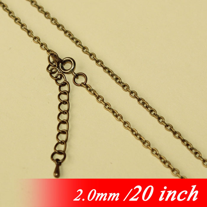 Metal 20 Jewelry Cable Chains With Round Clasps Extender End Drops For 2mm Fashion Necklace Links Pendants Vintage Bronze Tone<br><br>Aliexpress