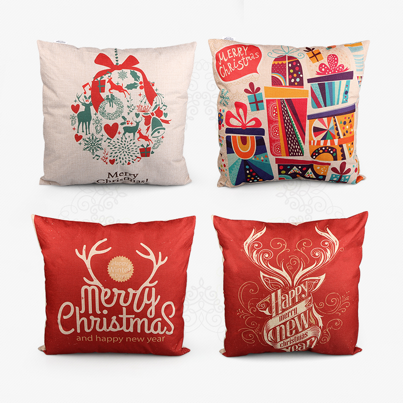Christmas Decorative Pillow Cases : new year 12Style Hot Sell Vintage Cotton Linen Christmas Pillow Case Cover PillowCase Decorative ...