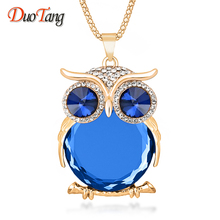 Buy 8 Colors Trendy Owl Necklace Fashion Rhinestone Crystal Jewelry Statement Women Necklace Silver Chain Long Necklaces & Pendants for $2.99 in AliExpress store