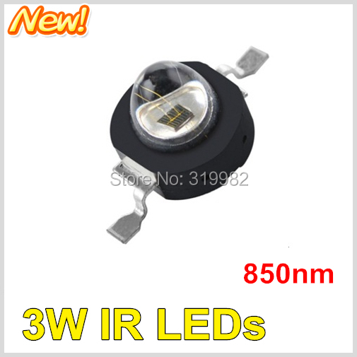 10pcs/lot LED IR Diode 3W 850nm red storm Far Emitter Chip Beads Ball Infrared IR Deep Red CCTV Camera Night Vision LEDs<br><br>Aliexpress