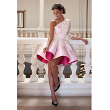 2017 Pink/Ivory Cocktail Dresses Sexy Half Sleeve Lace Robe De Cocktail Appliques One Shoulde Ball Gown Elegant Cocktail Dresses(China (Mainland))