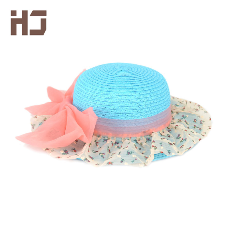 2016 New Fashion Wholesale Summer Big Bow Wave Children Flowers Straw Hat baby Girls Beach Hats Sun Hat 8 Color mz14(China (Mainland))