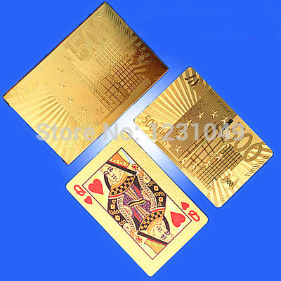 One Deck Gold Foil Poker set Euro 500 Style plastic Casino Playing Cards pokerstars card game Birthday special Novelty Present(China (Mainland))
