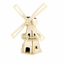 Hot Sale Solar Windmill Toys Wooden Assembled Model 3D Puzzle Assembling  Solar Powered Windmill Birthday Gift For Children(China (Mainland))