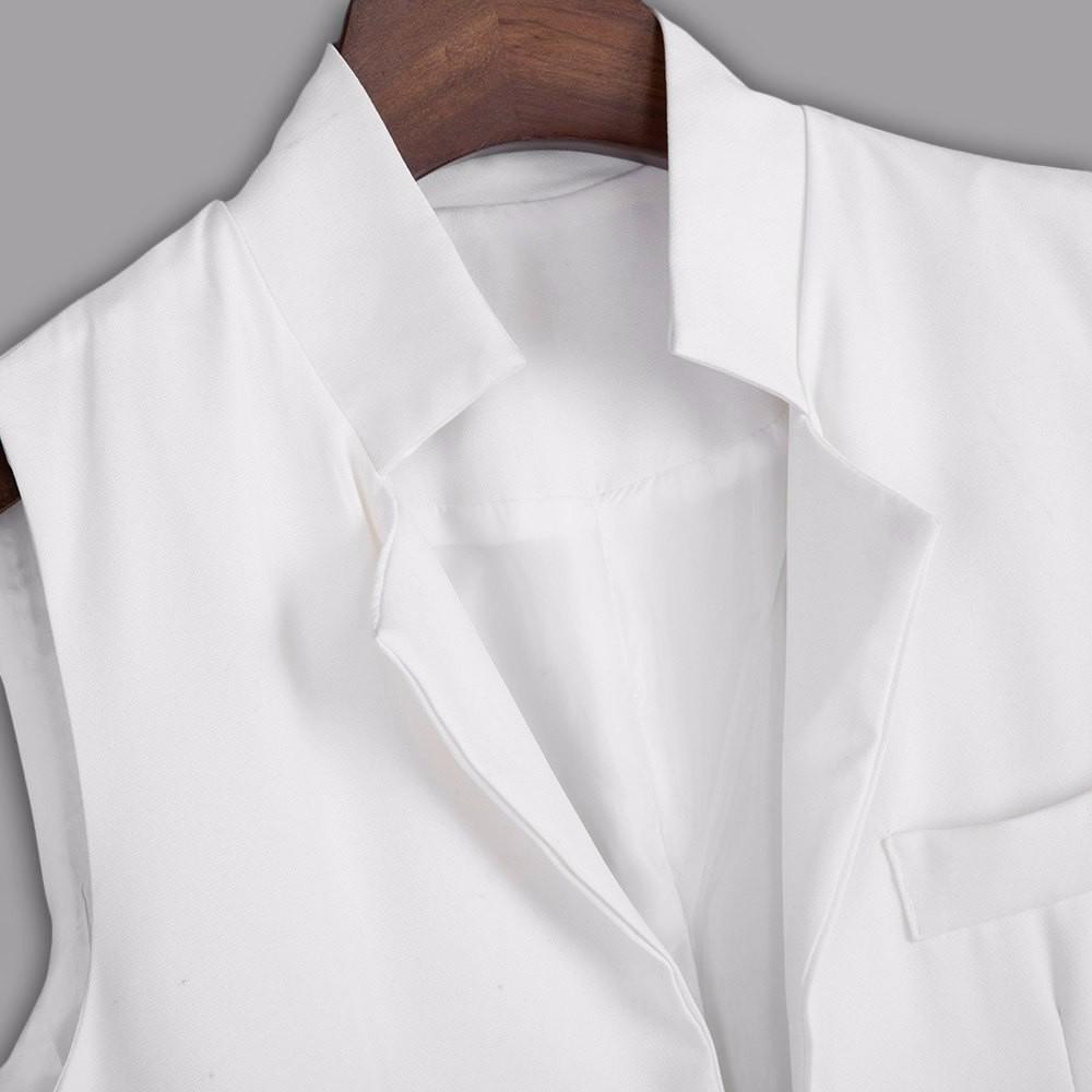 VESTLINDA Long Vest Back Split Outwear Waistcoats Women White Black Jacket Coat Sleeveless Cardigan Pocket Blazer Vest Femme Top 14